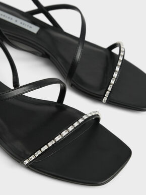 Gem-Embellished Strappy Sandals, Black, hi-res
