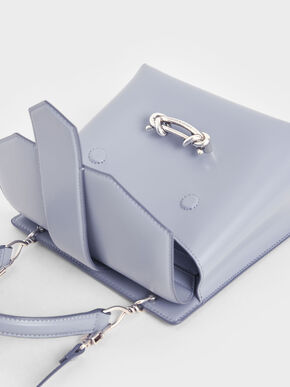 Metallic Accent Top Handle Bag, Light Blue, hi-res