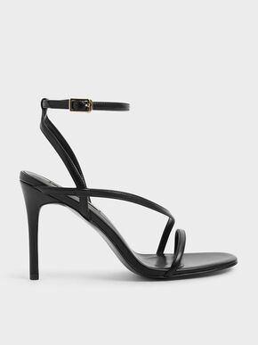 Strappy Stiletto Heel Sandals, Black, hi-res
