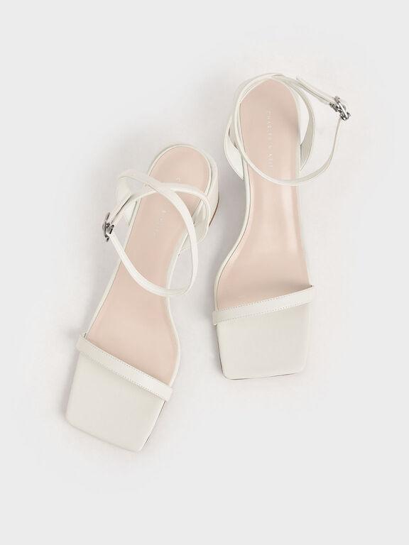 Ankle Strap Block Heel Sandals, White, hi-res