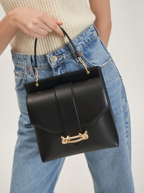 Metallic Accent Top Handle Bag, Black, hi-res