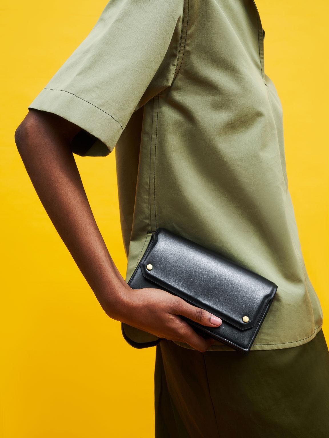 Front Flap Long Wallet, Black, hi-res