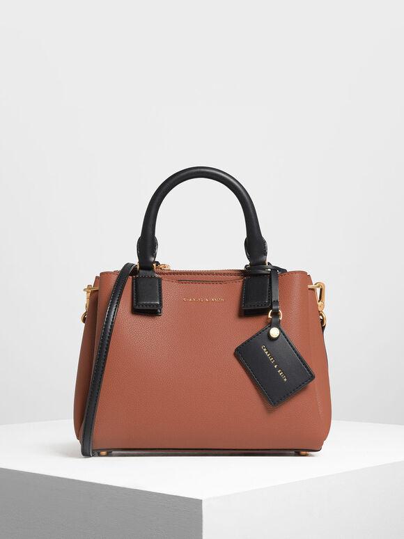 Top Handle Structured Bag, Cognac, hi-res
