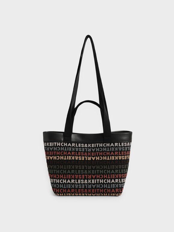 CHARLES & KEITH Monogram Tote Bag, Black, hi-res
