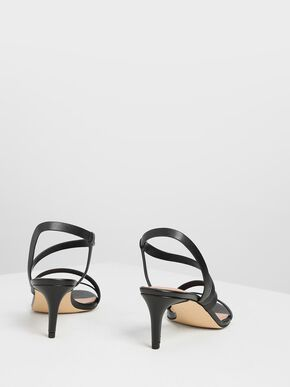 Open Toe Strappy Sandals, Black, hi-res