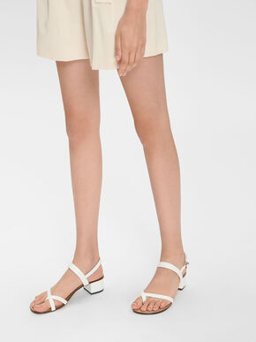 Crossover Toe Strap Sandals, White, hi-res