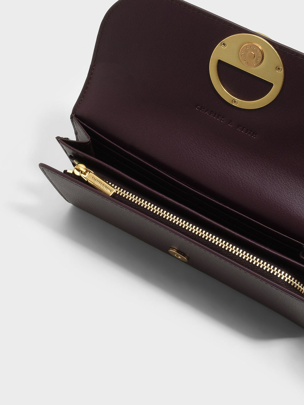 Circular Detail Wallet, Burgundy, hi-res