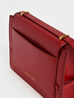 Metallic Push-Lock Crossbody Bag, Red, hi-res