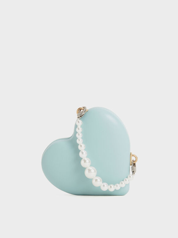 Beaded Handle Heart Pouch, Turquoise, hi-res