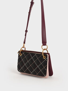 Quilted Metallic Handle Crossbody Bag, Black, hi-res