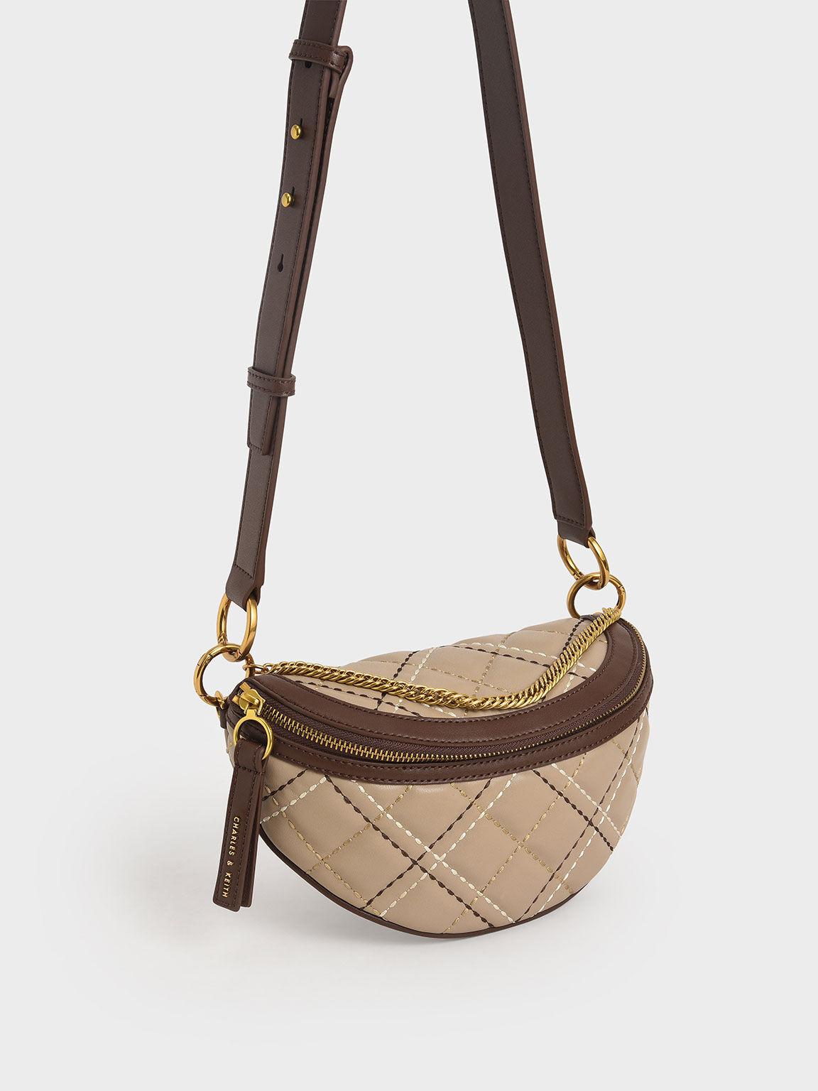 Half-Moon Crossbody Bag, Sand, hi-res