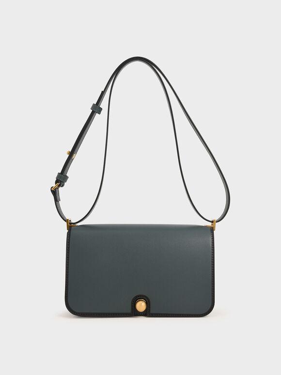 Metallic Push-Lock Shoulder Bag, Teal, hi-res