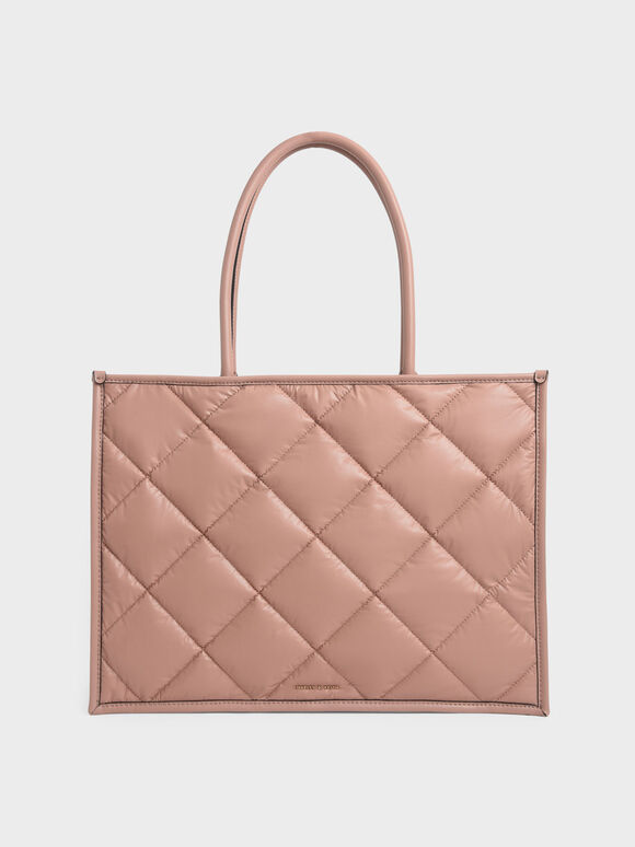 Double Handle Quilted Tote Bag, Blush, hi-res