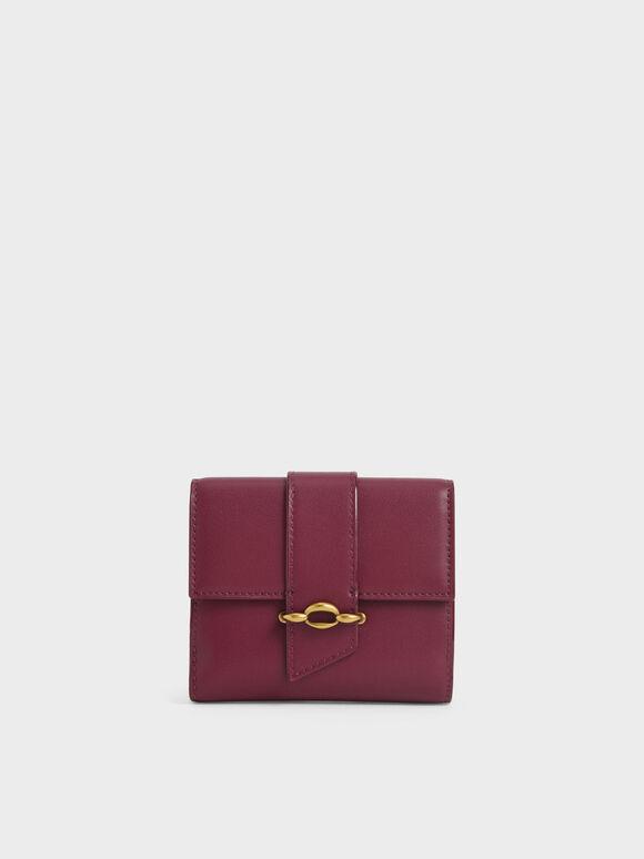 Belt Buckle Strap Short Wallet, Burgundy, hi-res