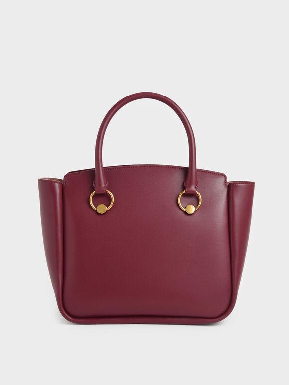 Ring Detail Large Hobo Bag, Burgundy, hi-res