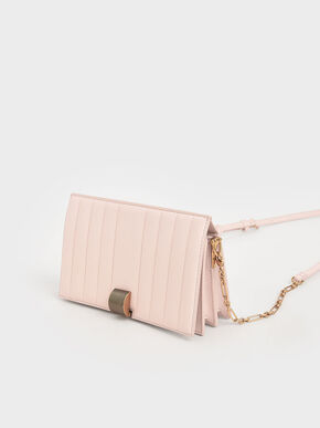 Panelled Metallic Push-Lock Wallet, Light Pink, hi-res