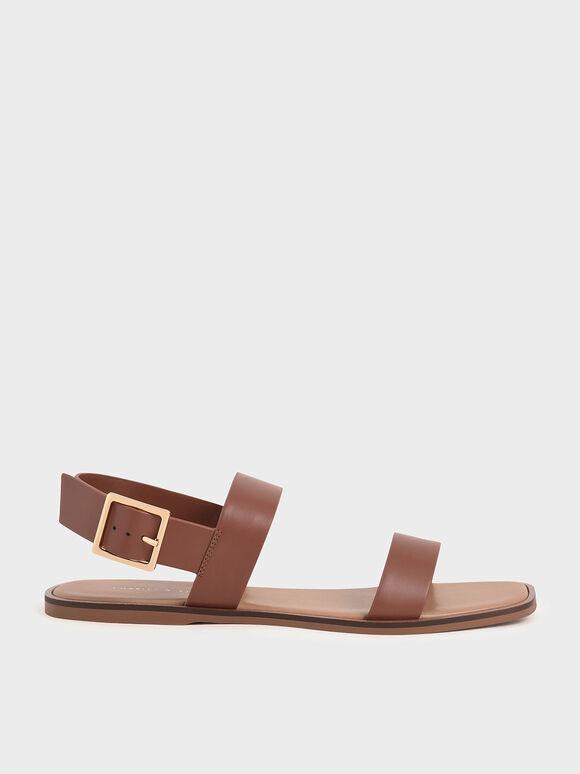 Buckle Ankle Strap Flat Sandals, Brown, hi-res