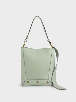 Studded Tote Bag, Mint Green, hi-res