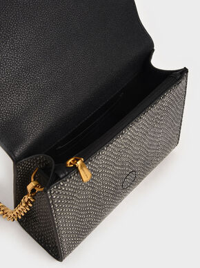 Snake Print Bow Envelope Clutch, Multi, hi-res