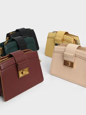 Metallic Push-Lock Shoulder Bag, Yellow, hi-res