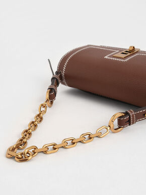 Turn-Lock Chain Handle Bag, Chocolate, hi-res