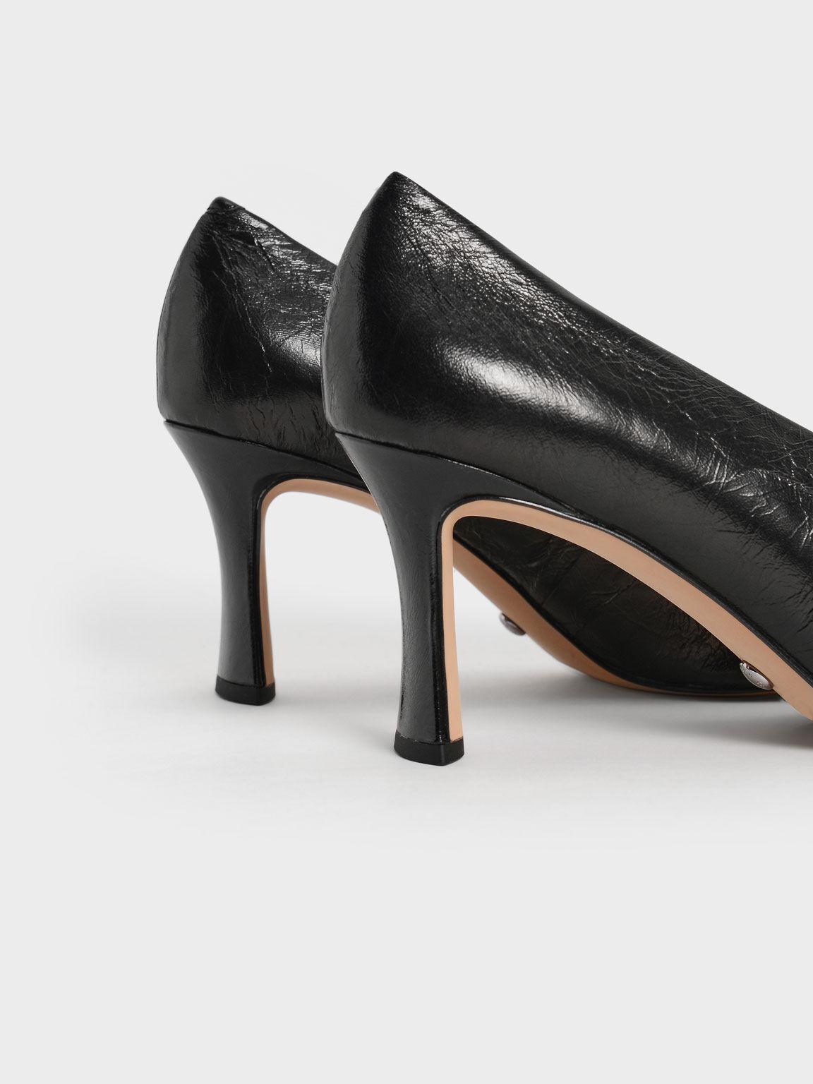 Gem-Embellished Leather Pumps, Black, hi-res