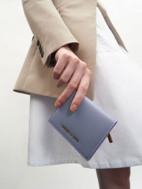 Zip Around Short Wallet, Light Blue, hi-res