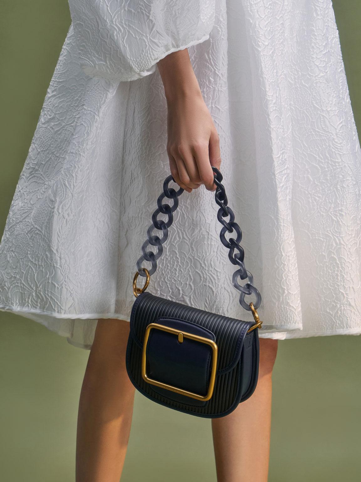Acrylic Chain Handle Crossbody Bag, Navy, hi-res