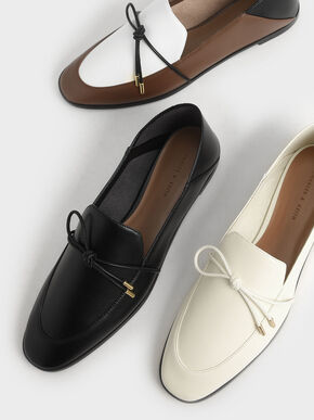 Bow-Tie Loafers, Black, hi-res
