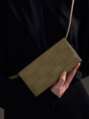 Woven Long Wallet, Sage Green, hi-res