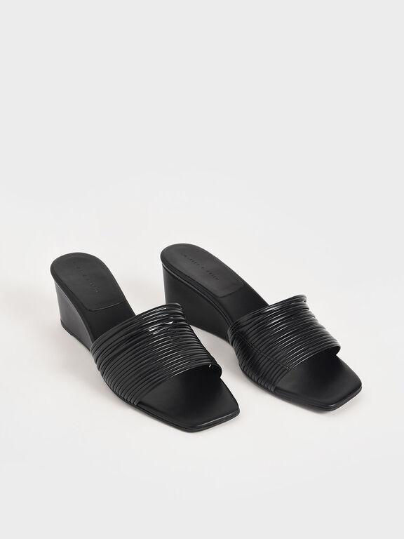 Strappy Wedges, Black, hi-res