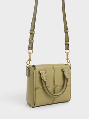 Textured Panelled Top Handle Bag, Khaki, hi-res