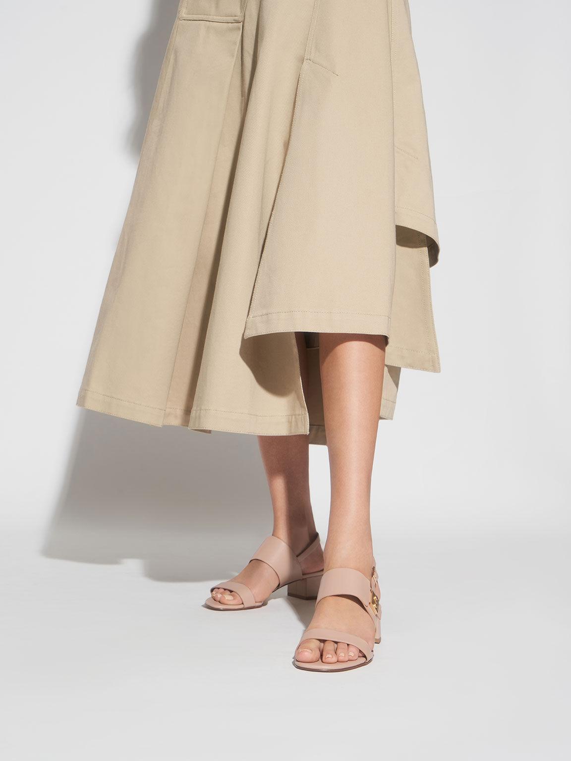 Buckle Strap Sandals, Nude, hi-res
