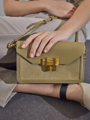Stone-Embellished Envelope Bag, Khaki, hi-res
