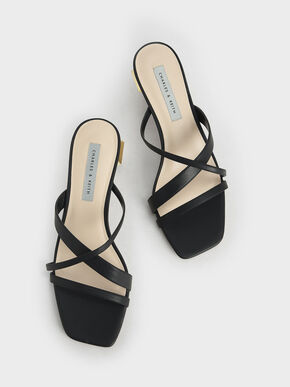 Cross Strap Heeled Mules, Black, hi-res