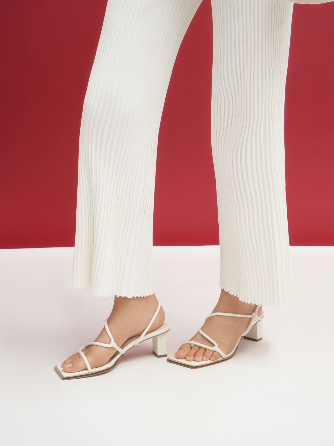 Strappy Toe-Loop Heeled Sandals, White, hi-res