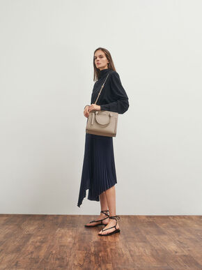 Double Handle Front Zip Tote, Sand, hi-res