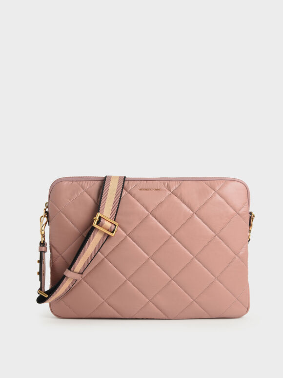 Quilted Laptop Bag, Blush, hi-res