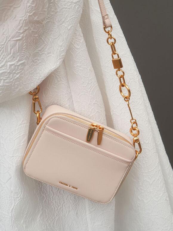 Chunky Chain Handle Two-Way Zip Crossbody Bag, Light Pink, hi-res