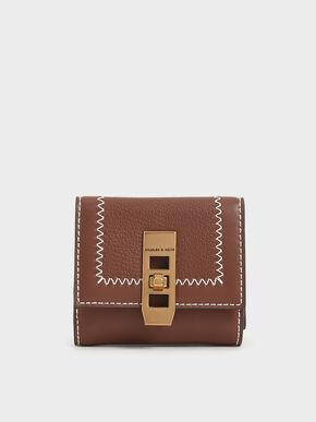 Stitch Trim Turn Lock Wallet, Chocolate, hi-res