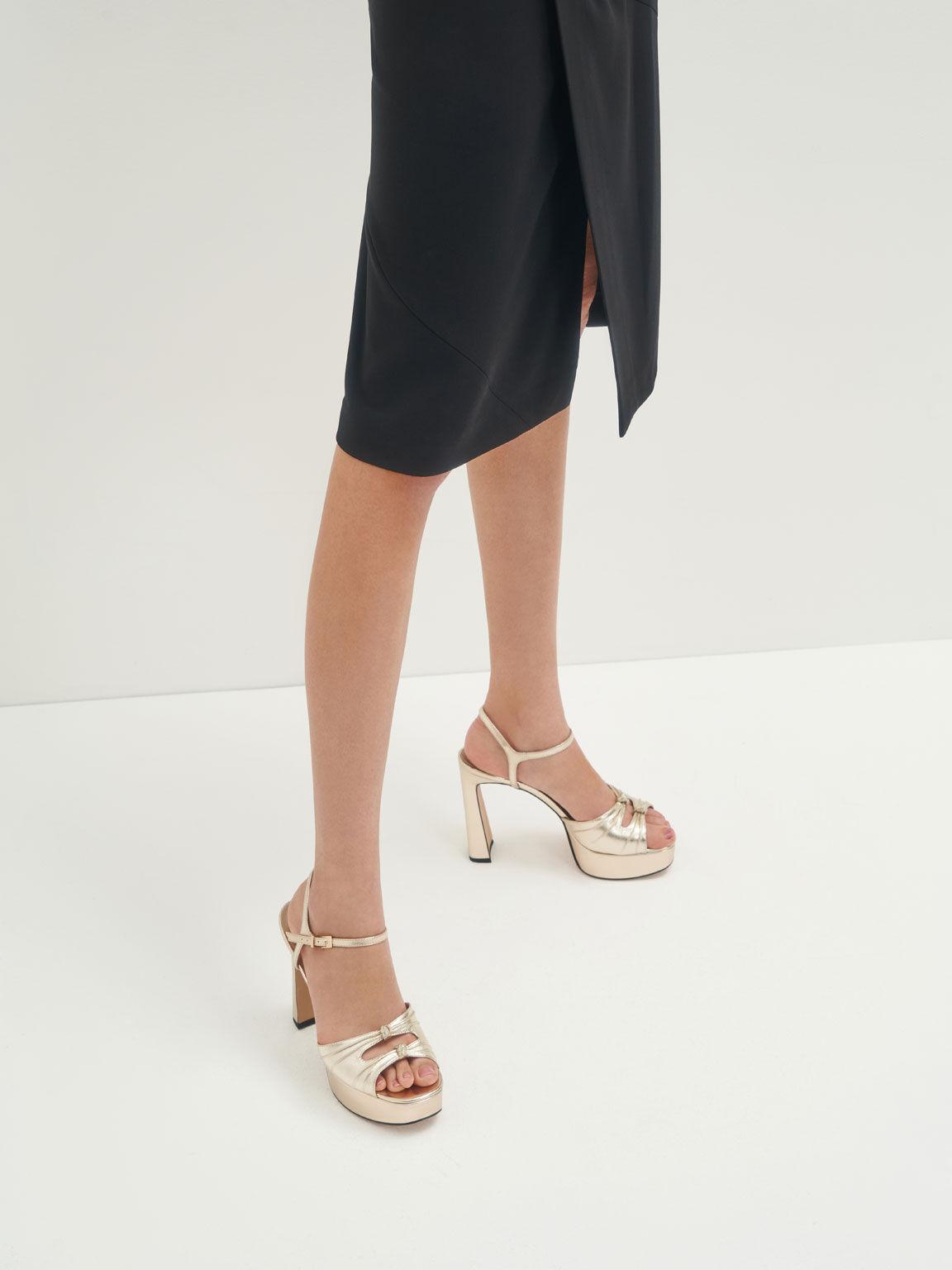 Knot Detail Metallic Platform Sandals (Kid Leather), Gold, hi-res