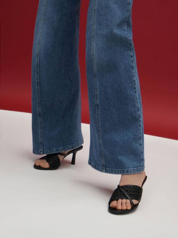 Asymmetric Woven Strap Mules, Black, hi-res
