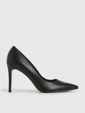 Pointed Toe Stiletto Pumps, Black, hi-res