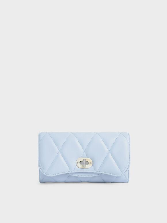 Quilted Turn-Lock Wallet, Light Blue, hi-res