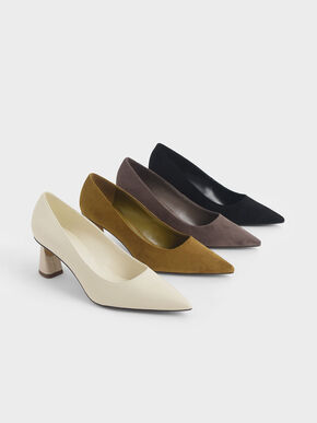 Sculptural Heel Pumps, Cream, hi-res