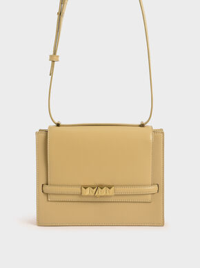 Metallic Push-Lock Crossbody Bag, Yellow, hi-res