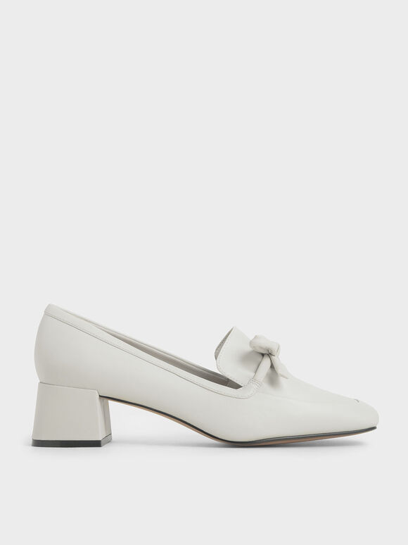 Bow Trapeze Heel Loafers, Chalk, hi-res