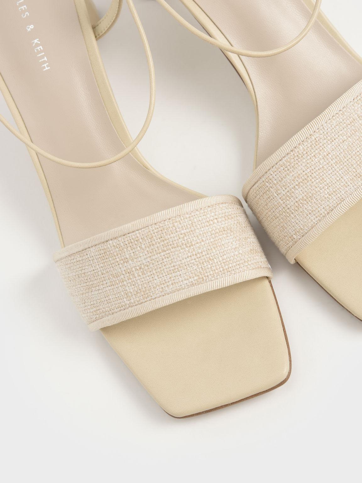 Linen Tie-Around Sandals, Beige, hi-res