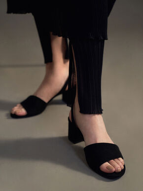 Textured Slingback Sandals, Black, hi-res