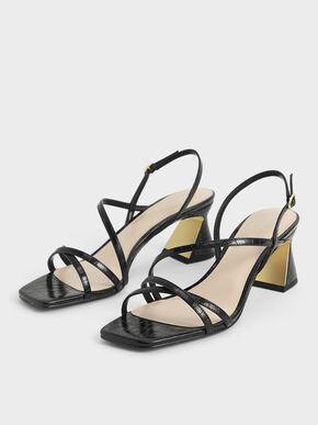 Croc-Effect Strappy Heeled Sandals, Animal Print Black, hi-res